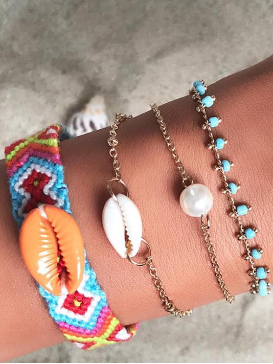 buy Bohemian Hand-woven Faux Pearl Shell Bracelet Set - GOLD