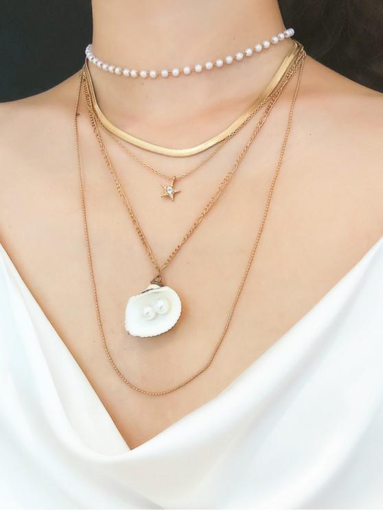 Collana con catena multistrato naturale in finta perla smerlata - Oro