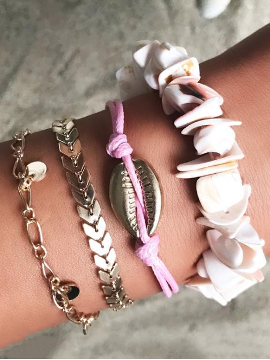 Set di bracciali a catena semplice con guscio a conchiglia - Oro