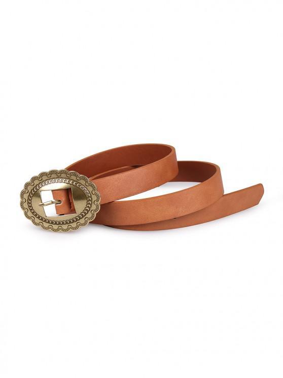 Cintura con fibbia intagliata ovale vintage - marrone chiaro