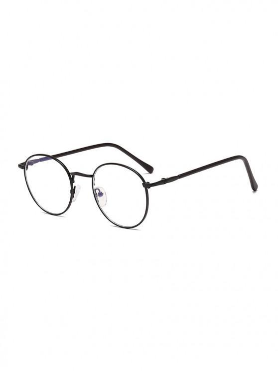 womens Vintage Round Brief Transparent Glasses - BLACK EEL