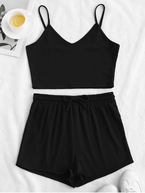 women ZAFUL Solid Crop Cami Sports Two Pieces Suit - BLACK L