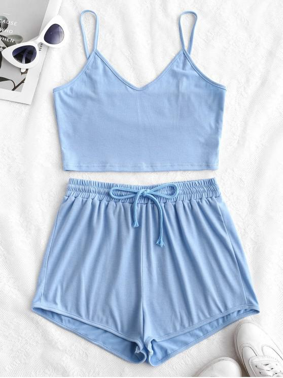 sale ZAFUL Solid Crop Cami Sports Two Pieces Suit - LIGHT BLUE S