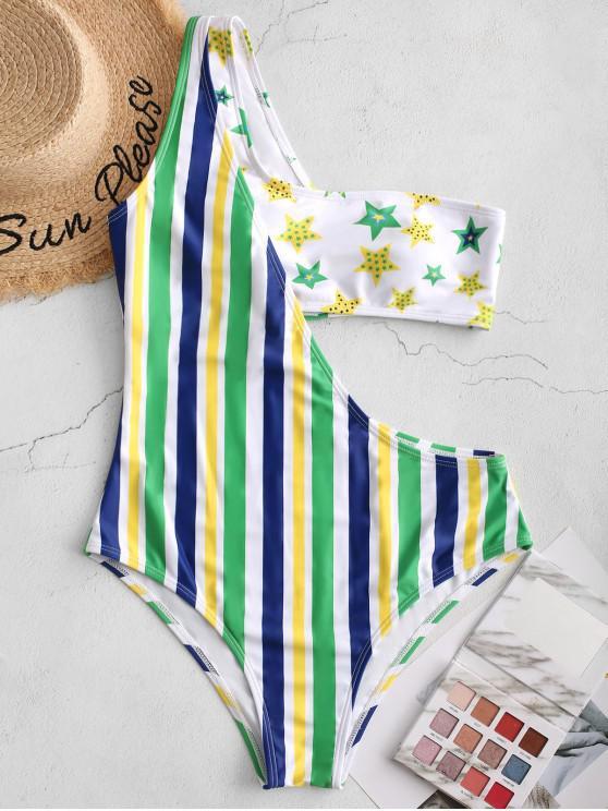 ZAFUL Brazilian Flag Imprimir um ombro Swimsuit de uma peça - Multi-A L