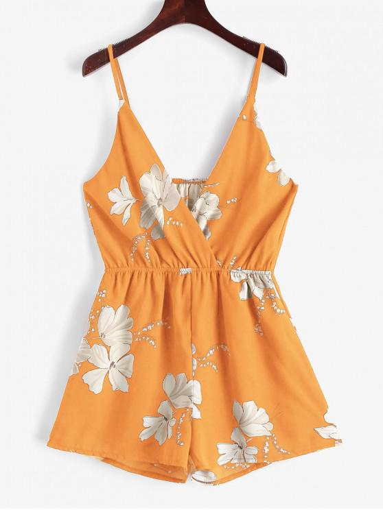 ladies ZAFUL Cami Surplice Floral Romper - BEE YELLOW M