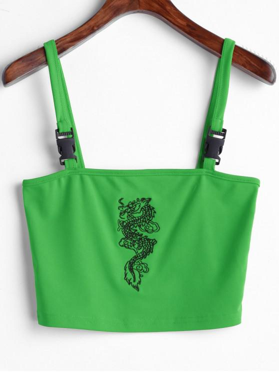 fancy Dragon Embroidered Buckle Straps Tank Top - GREEN L