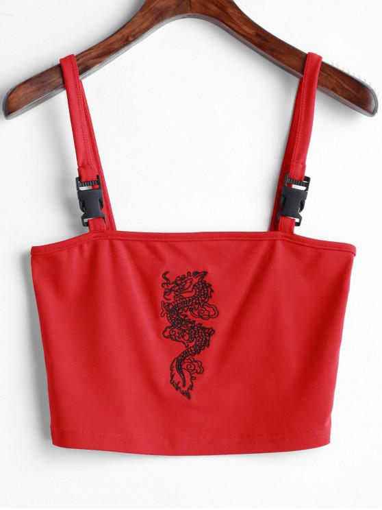 unique Dragon Embroidered Buckle Straps Tank Top - RED L