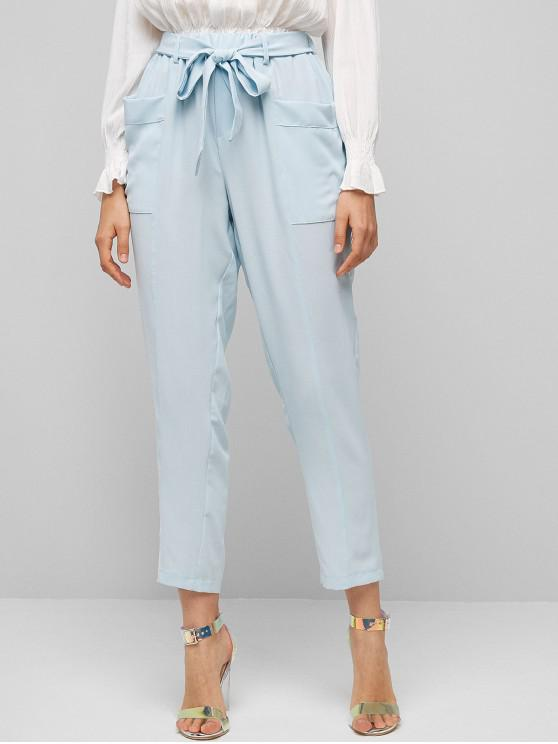 new High Waist Knotted Solid Tapered Pants - LIGHT BLUE S