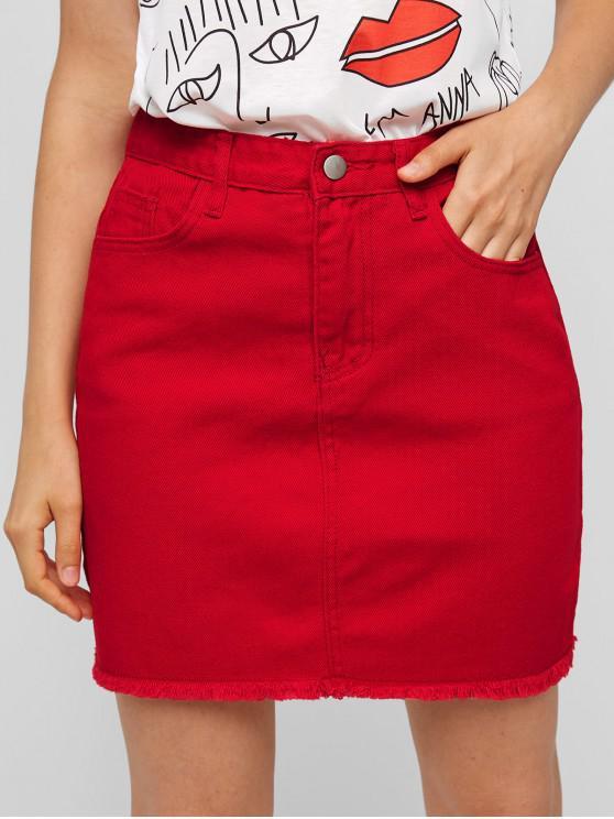 Falda de mezclilla con dobladillo deshilachado y bolsillo - Rojo Lava M