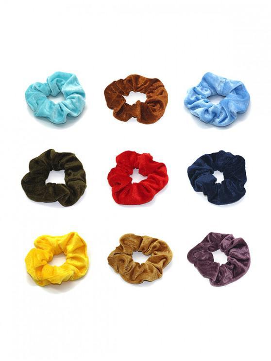9PCS القطيفة scrunchies - متعددة C