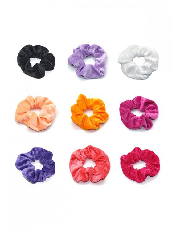 chic 9PCS Velour Scrunchies - MULTI-A