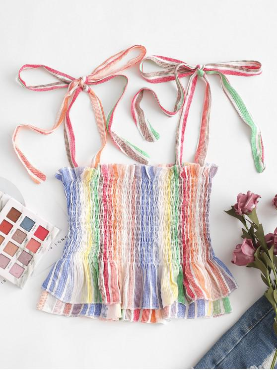 fancy Layered Smocked Rainbow Stripes Tank Top - MULTI-A XL