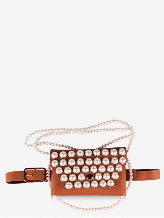 Borsa a tracolla con catena di perle finte con cintura - Marrone Cammello
