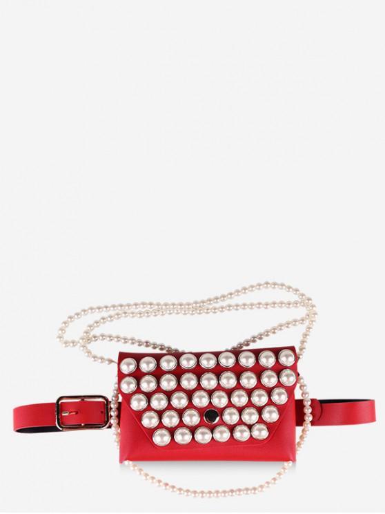 Borsa a tracolla con catena di perle finte con cintura - Rosso
