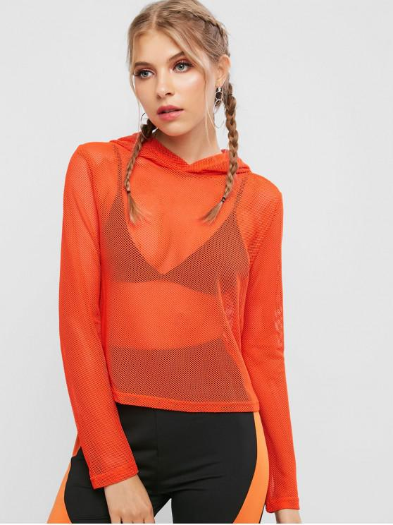women's Neon Plain See Thru Mesh Hoodie - PAPAYA ORANGE S