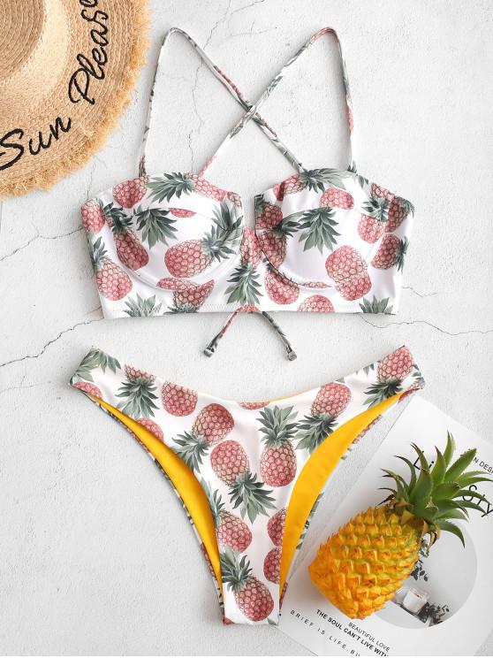 chic ZAFUL Pineapple Underwire Reversible Balconette Bikini Swimsuit - WHITE L