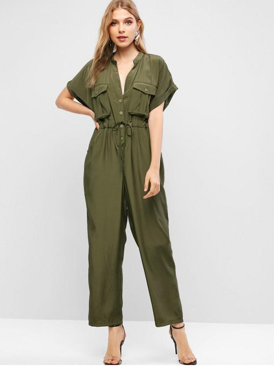 womens Pockets Half Buttoned Straight Shirt Jumpsuit - GREEN S