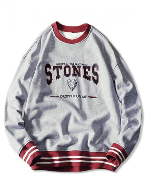 best Stones Letter Graphic Print Stripes Color Block Hem Sweatshirt - GRAY CLOUD 2XL