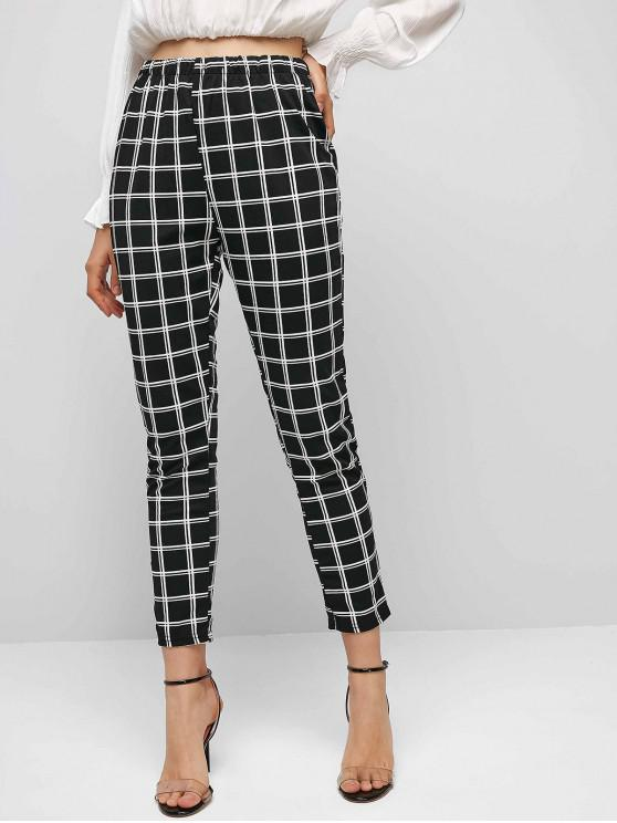 women High Waist Plaid Tapered Pants - BLACK XL