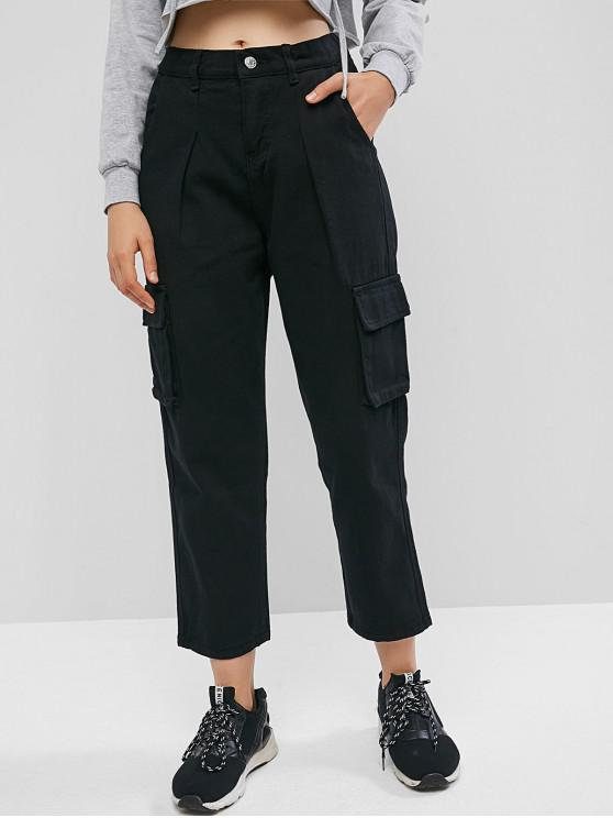 trendy High Waisted Flap Pockets Straight Pants - BLACK M