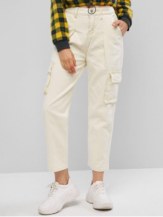 Pantaloni dritti con tasche a patta a vita alta - Bianco caldo M