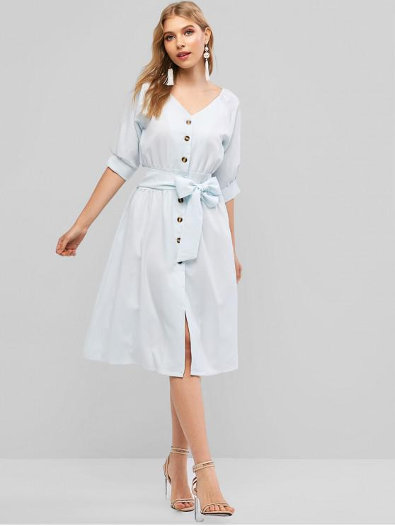 women's Knotted Button Up A Line Dress - PALE BLUE LILY XL