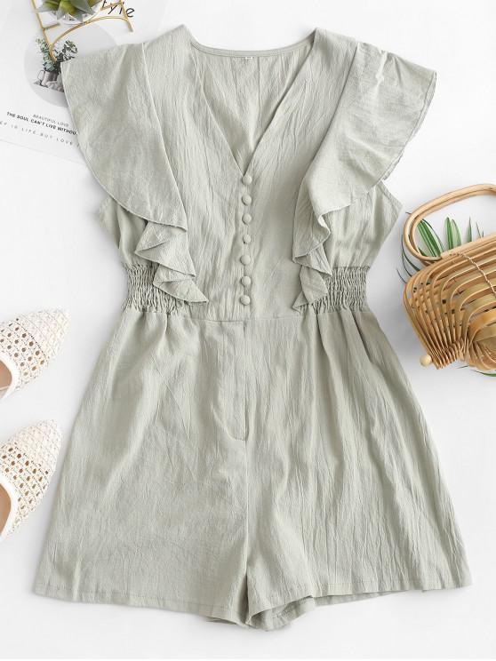 fashion Ruffle Armhole Button Loop Smocked Romper - LIGHT GREEN XL