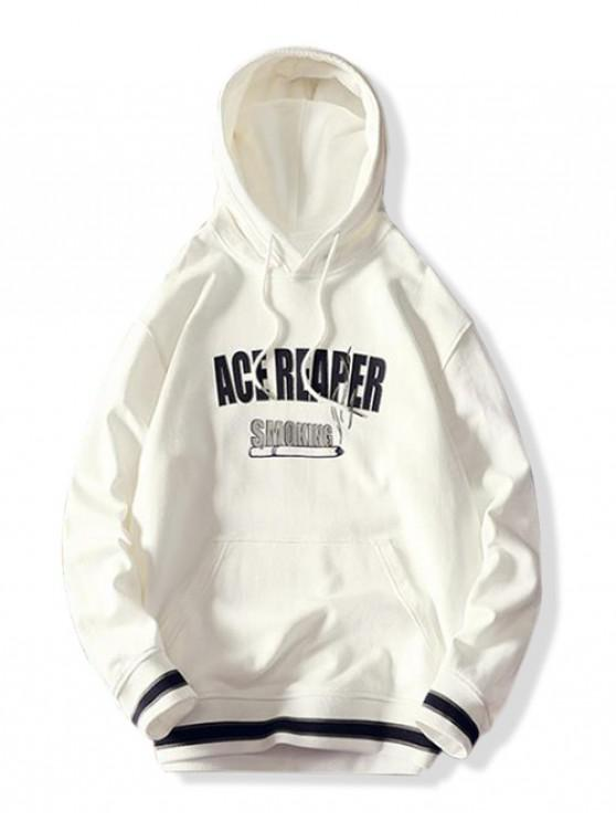 outfits Smoking Letter Graphic Print Splicing Kangaroo Pocket Hoodie - WHITE L