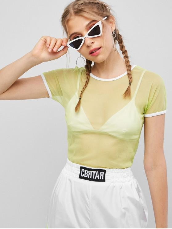 hot Mesh Crop Ringer T-shirt - GREEN M