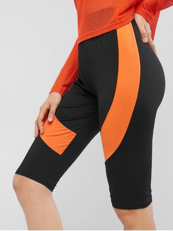 Pantalones cortos Biker de bloque de color de cintura alta - Negro XL