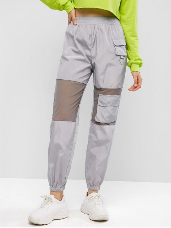 fancy Mesh Panel Flap Pockets Windbreaker Jogger Pants - GRAY GOOSE L