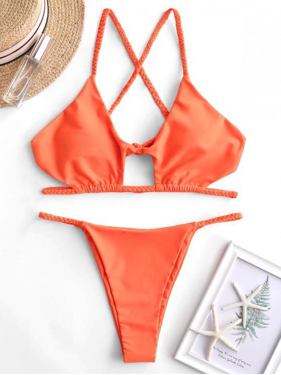 women's ZAFUL Braided Cross Back Cutout String Bikini Swimsuit - ORANGE S