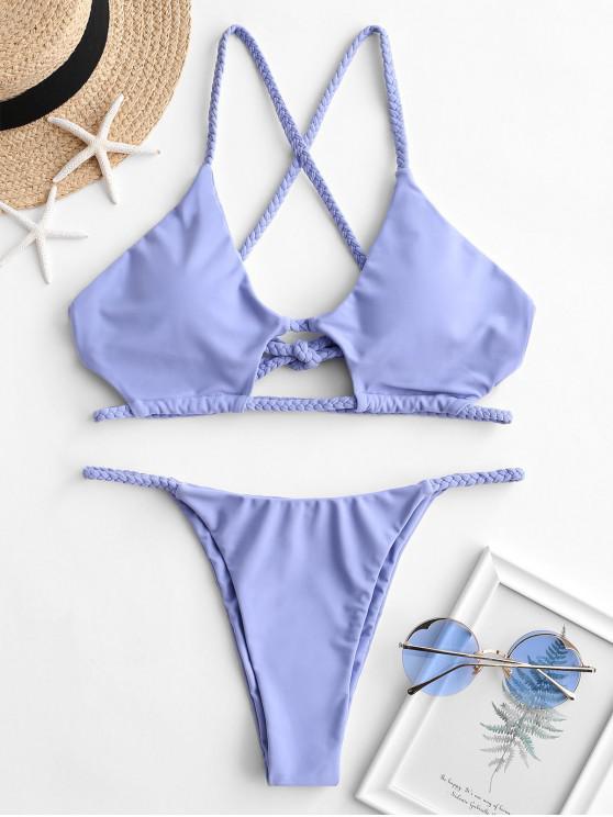 online ZAFUL Braided Cross Back Cutout String Bikini Swimsuit - SKY BLUE M