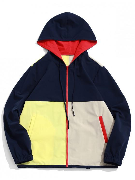 Giacca con cappuccio e cerniera ZAFUL Color Block - Multi Colori-A L