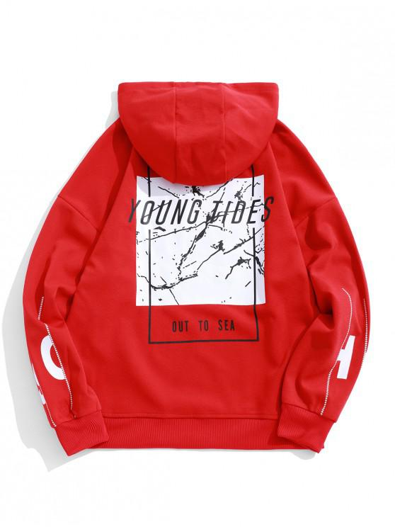 unique Young Tides Letter Graphic Disty Print Drop Shoulder Hoodie - LAVA RED 2XL