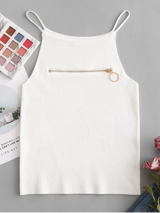 fancy Pull Ring Zip Short Knit Cami Top - MILK WHITE ONE SIZE
