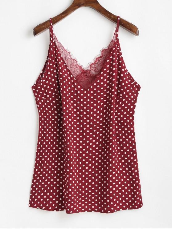 Top de camisola atado con panel de encaje de lunares - Rojo L