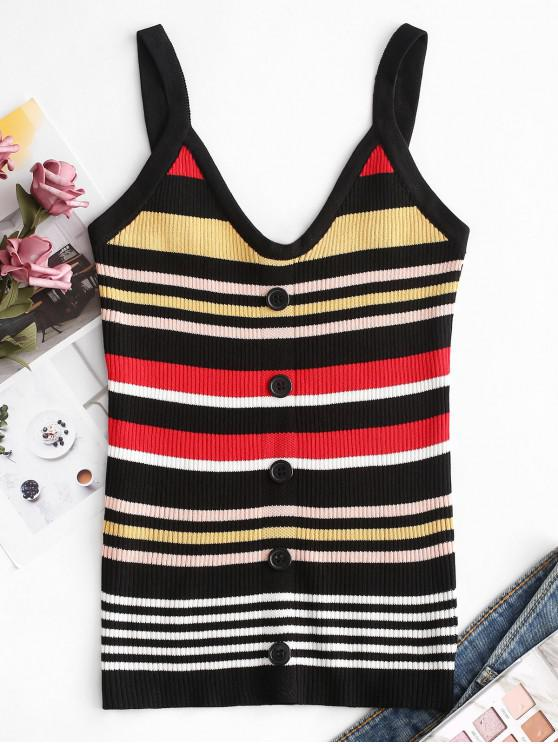 hot Striped Buttoned Knit Slim Tank Top - MULTI-A ONE SIZE