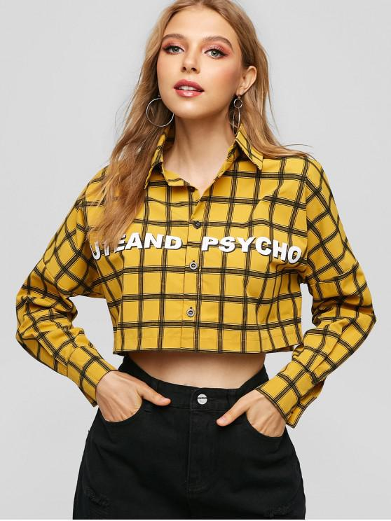 women's Cute And Psycho Graphic Plaid Cropped Shirt - BEE YELLOW M