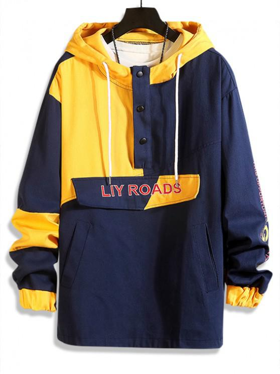 affordable Letter Graphic Print Color Block Panel Casual Hooded Jacket - BLUEBERRY BLUE L