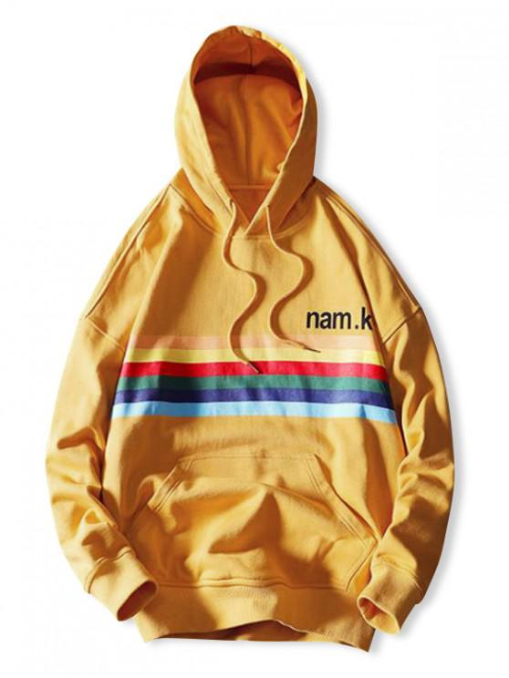 online Rainbow Striped Letter Graphic Print Casual Hoodie - BEE YELLOW L