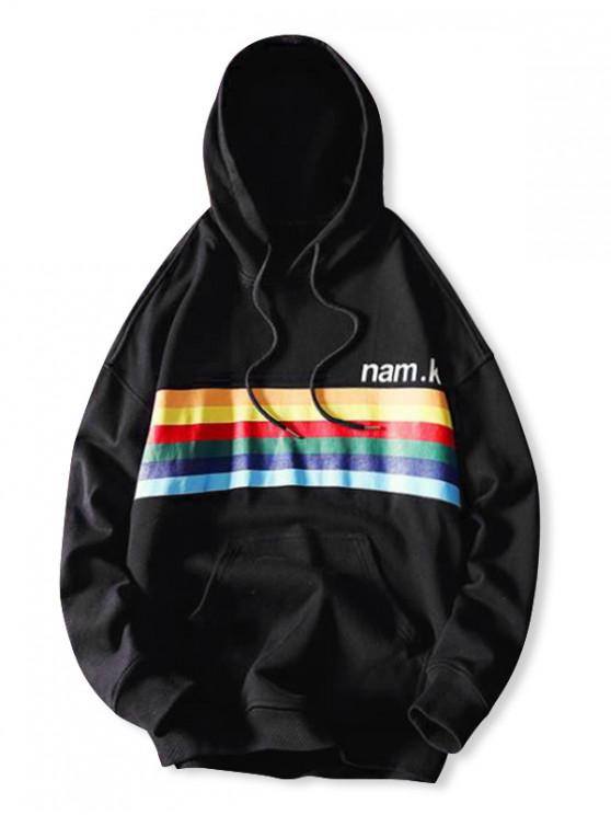 affordable Rainbow Striped Letter Graphic Print Casual Hoodie - BLACK XL