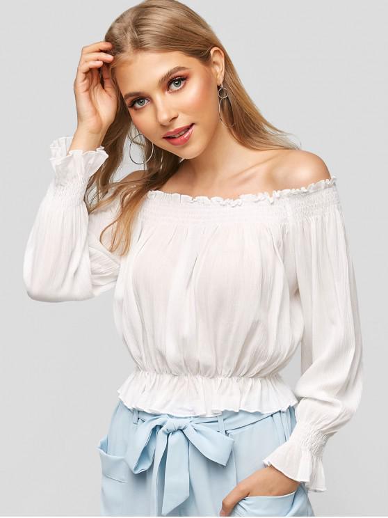 Blusa lisa con volantes y hombros descubiertos - Blanco M