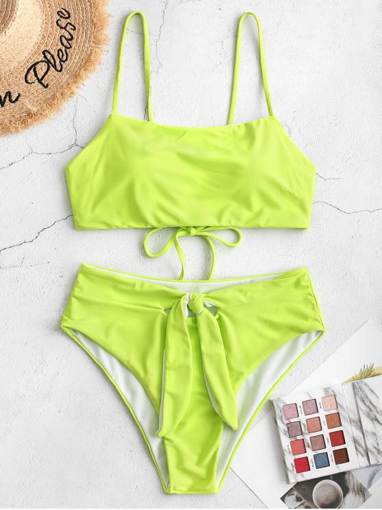 buy ZAFUL Knot Lace Up Tankini Swimsuit - TEA GREEN S