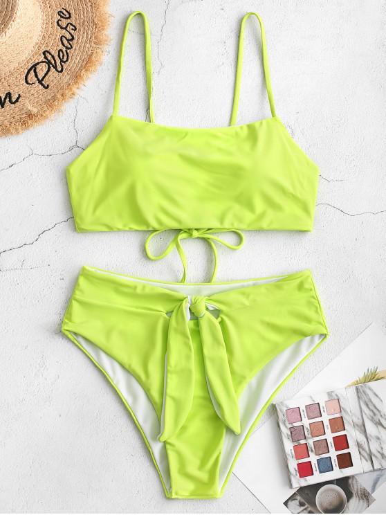 women ZAFUL Knot Lace Up Tankini Swimsuit - TEA GREEN L