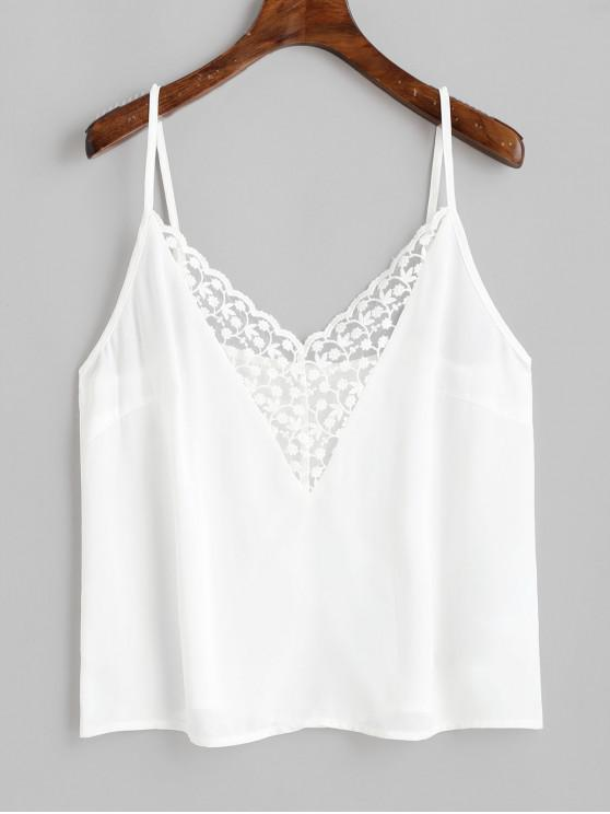 new ZAFUL Flower Embroidered Lace Insert Plain Camisole - WHITE M