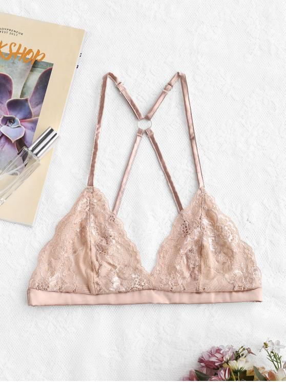 lady See Through Back Closure Lace Bralette - APRICOT XL