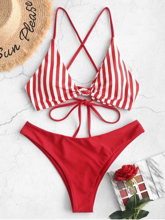 women's ZAFUL Knot Striped Bikini Swimsuit - LAVA RED M