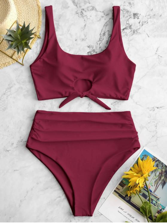 affordable ZAFUL Scooped Keyhole Tummy Control Tankini Swimsuit - RED WINE L