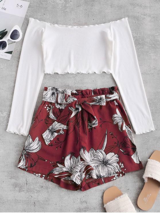shop ZAFUL Ribbed Floral Off Shoulder Paperbag Shorts Set - MULTI-D M